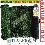 Seto artificial, proporciona sombra, con hojas de pino de tipo aguja, rollo de 3 m, 1,5 m de altura