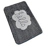 Fußmatte Anti-Rutsch-Maschine waschbar Simple Style Mikrofaser Teppich 40 x 60cm (Grau Hello)
