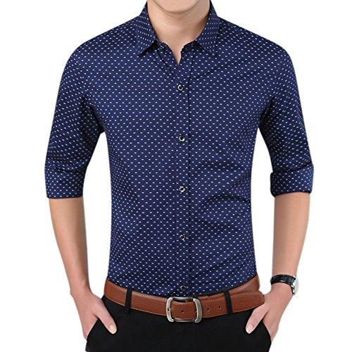 Uomo slim fit maniche lunghe gioventù affari pois risvolto camicia blu marino xxxl