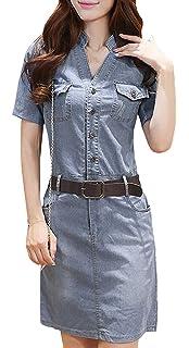 90753873b07 BOLAWOO-77 Damen Sommer Jeanskleid Beiläufige Ausschnitt Jeanskleid Bodycon  V Knopf Mode Marken Knielang Epaulet