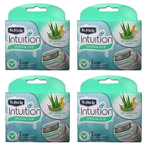 Schick Intuition Naturals Sensitive Care Razor Blade Refill Cartridges, 12 count