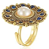 #7: Om Jewells Gold Plated Ravishing Indo Western Adjustable Traditional Cockatil Ring Studded with Kundan and Pearl Designed for Girls and Women FR1000918