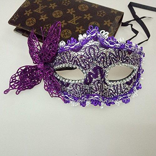 venezianische Maske, Fashion Masquerade Maske Kostüm Party Halbmaske (lila) (Holloween Masken)