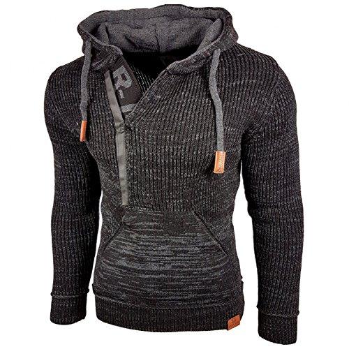 Rusty Neal Kapuzenjacke Herren Winter Kapuzenpullover Reißverschluss Pulli Sweatshirt Jacke RN-13277 Neu, Größe:XL, Farbe:Schwarz/Anthrazit