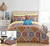 Chic Home 6 Piece Chennai Reversible Boho-inspired print and contemporary striped patterned technique Twin Bed In a Bag Comforter Set Red