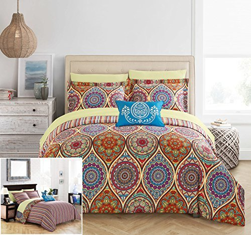 Chic Home 6 Stück Chennai reversibel boho-inspired Print modernes Streifenmuster und gemustert Technik Twin Bed in a Bag Tröster Set - Twin Clearance Sets Tröster