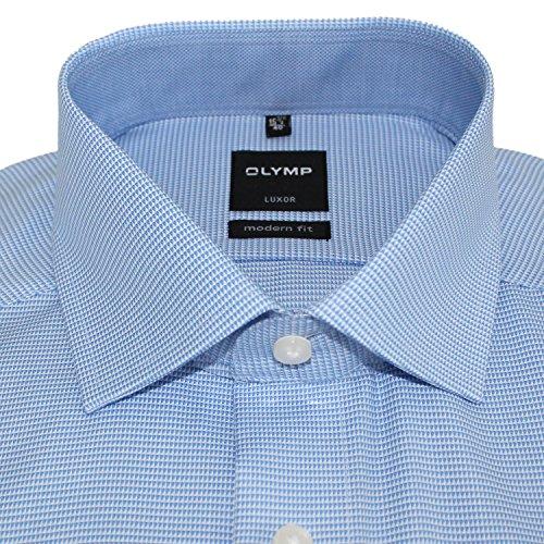 OLYMP Herrenhemd LUXOR, modern fit, Global Kent, hellblau, Faux Uni, AL 69cm + 1Paar hochwertige Socken, Bundle Hellblau