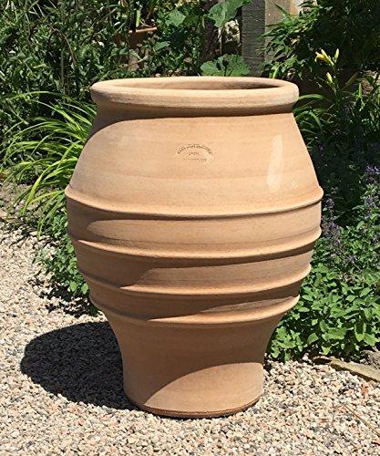 Kreta-Keramik, Klassische Amphore, handgemacht und frostfest Terracotta für den Garten/Außenbereich, 50 cm, Dekoration bepflanzbar Agave
