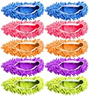 Microfiber Dust Mop Slippers, 5 Pairs Multi-Function Duster Mop Shoes for Cleaning Drying Floor - 5colors