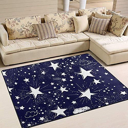 Alfombras De Área Galaxy Space Estrellas Blancas Nubes Azul Marino Alfombra De Piso Sala De Estar Dormitorio...