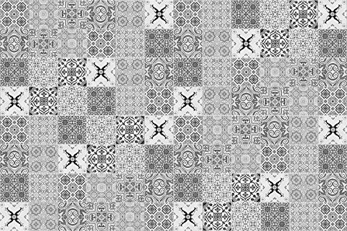 Laroom Alfombra Vinílica Infantil Diseño Faro, Vinilo Antiliscante, Gris, 133x200 cm