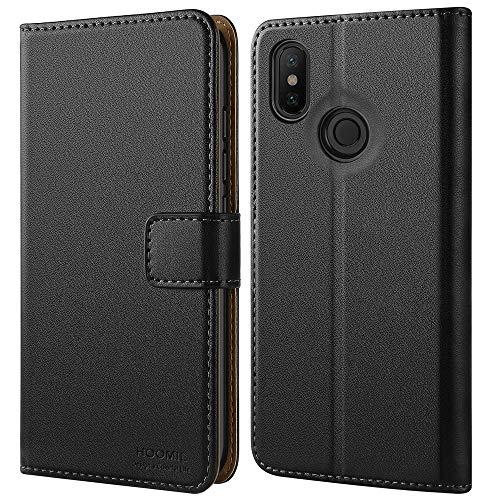 HOOMIL Handyhülle für Xiaomi Mi A2 Hülle, Premium Leder Flip Schutzhülle für Xiaomi Mi A2/6X Tasche, Schwarz