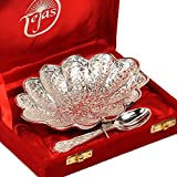 Unique Giftz Silver Polish Oval Shape Brass Bowl With Spoon 268