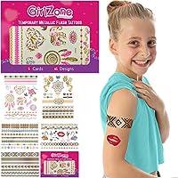 CADEAUX POUR LES FILLES TATTOOS DE FLASH TEMPORAIRE - 5 Card Pack - 65 Designs - Grand cadeau pour les filles et l'idée de fête favori - tatouages dorés, métalliques et colorés