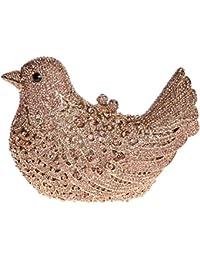 Damen Clutch Abendtasche Handtasche Geldbörse Glitzertasche Strass Kristall Vogel Tasche mit wechselbare Trageketten von Santimon Gold Santimon