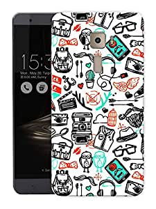 "Humor Gang Hand Drawn Doodle Art PrintPrinted Designer Mobile Back Cover For ""Asus Zenfone 3 Laser"" (3D, Matte Finish, Premium Quality, Protective Snap On Slim Hard Phone Case, Multi Color)"