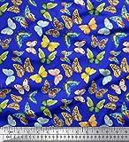 Soimoi Blau Viskose Chiffon Stoff bunt Schmetterling Stoff