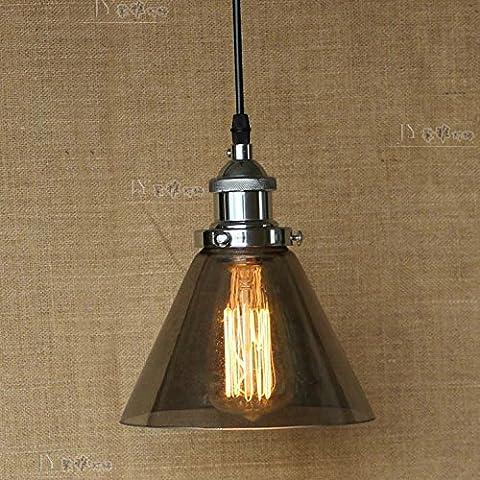LYNDM Humo de fábrica embudo de vidrio lámpara colgante de techo Retro Lámpara de filamento(sin luz)#DD0106