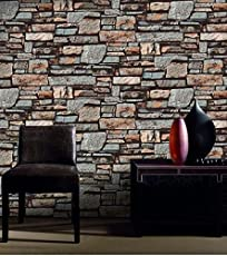 eurotex LARA's Waterproof 3D Vintage Faux Brick Brown Wallpaper for Walls