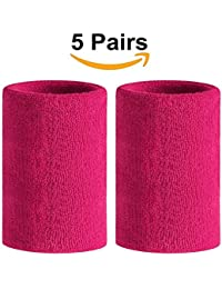Meta-U 5 Pairs Wholesale Rose Red Soft Thicken Cotton Wristbands