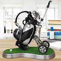 Golf-Geschenk, Mini-Desktop-Golf-Uhr Kugelschreiber stehen mit Golf-Kugelschreiber 2pcs Set Neuheit Geschenk, Top-Dad-Geschenk Golf Souvenir für Golfer, Vater, Männer, Freund, Ehemann (weiß)