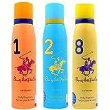 Beverly Hills Polo Club Women Deodorant No. 1/2/8- Pack Of 3 (150ml Each)