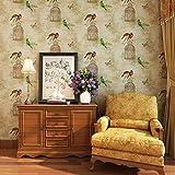 GXX papel pintado retro/Dormitorio living comedor terraza TV pared del fondo/ chino pájaro y flor de papel pintado-A