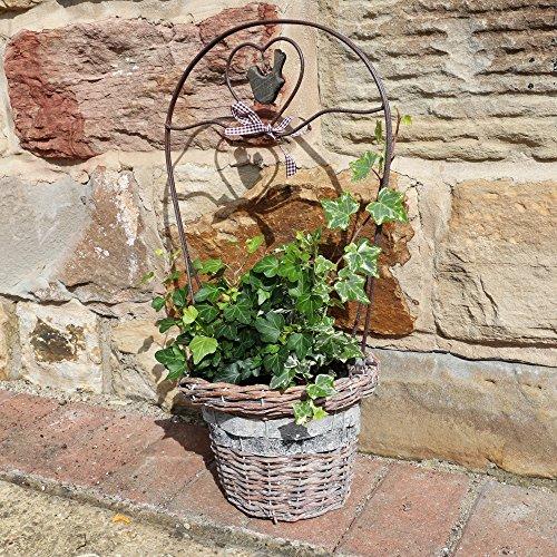 Naturweide Übertopf Korb mit Ständer–Ideal Dekorative Pflanze Speicher für der Garten–H54x 21cm, schwarz (Dekorative Speicher-körbe)
