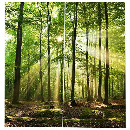 SODIAL Bambus Wald Gedruckt Blackout Vorh?nge Für Schlafzimmer Fenstervorh?nge Für Wohnzimmer 85% Schattierung 3D H?he 200 cm Breite 170 cm