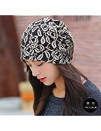 La versi¨®n coreana de la tapa transpirable desde el oto?o y primavera verano turbante femenino kit fino encaje de cabeza hueca de Baotou tapa negra