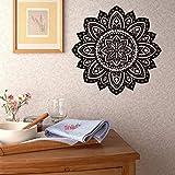 gossipboy DIY Vinyl Wandtattoo schwarz-Mandala Muster Design Mantra Mandala Blumen Lotus Flower (57x 57cm)-Inspiriert Art Wand Aufkleber Wandbild für Wohnzimmer Home Decor