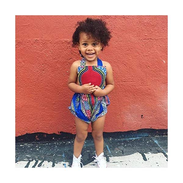 HEETEY Pijama para niña, para niños pequeños, con Estampado Africano, sin Mangas, con Cinta para el Pelo, Ropa para… 5