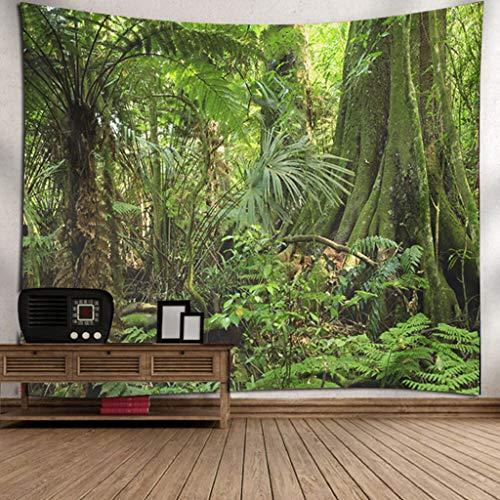 Scrolor Moderne Wandteppiche Entwurf fur Eine Tapisserie Wandbehang Home Wohnzimmer Dekoration Schöne Naturlandschaft Bäume hautnah(Grün 4,150X200cm) (Wandteppich Wandbehang Modern)