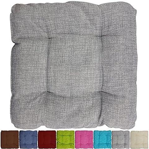 proheim Outdoor Stuhl-Kissen 40 x 40 x 8 cm wasserabweisendes Sitz-Kissen mit Fleckenschutz stark gepolstertes Weichstuhl-Kissen für Indoor und Outdoor, Farbe:Grau