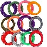 KINYOOO 3D Pen/Printer Filamento Ricarica 1.75mm Materiale PLA a basso odore 3D di materiali di consumo, (12 colori, 33 piedi ciascuno)