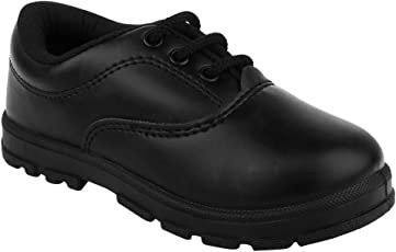 FUEL Kid's Black Laced up Formal Comfortable Soft Safety Toe Lead Free School Shoes for Boy's