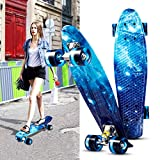 Acecoree 55cm Mini Cruiser Skateboard mit LED Leuchtrollen, 22