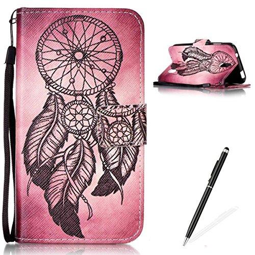 Feeltech Hülle für Huawei Y625 Weich Magnet PU Brieftasche Elegant Kartenfach Extra Dünn Schutzhülle Bunte ReLife MusterKarte Halterung Klapp Ledertasche - Schwarzer Traumfänger