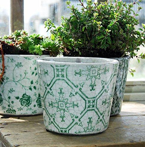 Vintage olandese stampa floreale piastrelle terracotta smaltata verde vaso