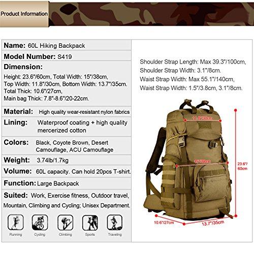 Imagen de huntvp  de asalto táctical  militar  gran  de hombro impermeable 60l para las actividades aire libre senderismo caza viajar color marrón alternativa