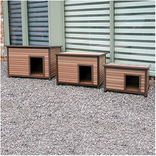 Rosewood 02065 Wetterfeste Flachdach-Hundehütte für kleine Hunde, aus Holz und Kunststoffwerkstoff, mit aufklappbarem Dach - 3