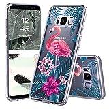 MOSNOVO Galaxy S8 Hülle, Tropisch Flamingo Blumen Muster TPU Bumper mit Hart Plastik Hülle Durchsichtig Schutzhülle Transparent für Samsung Galaxy S8, Galaxy S8 Case (Tropisch Flamingo)