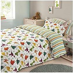 Dreamscene–Dinosaurio Animal, reversible, diseño de rayas niños juego de cama de funda de edredón funda de almohada poliéster,., Verde/Naranja/Blanco, solo