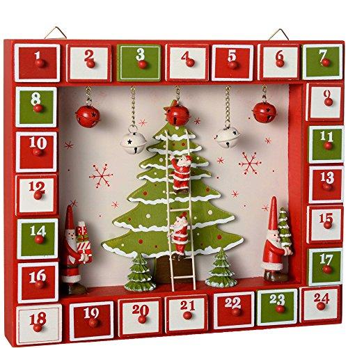 WeRChristmas–Calendario dell'Avvento in legno, decorazione natalizia a forma di Babbo Natale, Legno, multicolour, 27 x 31 x 5