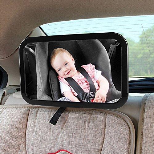ZUOAO Espejo de Seguridad del Coche de Bebé - Espejo para Vigilar al Bebé Regulable 360 °- Gran área de Visión - Retrovisor para Sillitas de Bebé Fácil de Instalar y Adecuado para Todos los Vehículos