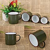 SEGRJ Vintage Military Army Green Travel Portable Water Cup Drinking Thicken Mug