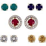 Zeneme Jewellery Earring Gold-Plated Multi-color 5 In 1 Interchangeable Stud Style Jewellery For Women & Girls