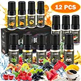 E Liquids,12 X 10ml E Zigarette Liquid VG50/PG50 E-liquid für E-Zigarette Ohne Nikotin 12 Aromen E-Shisha Liquids E Liquid Set für E Zigaretten/Elektrische Zigarette/E Shisha