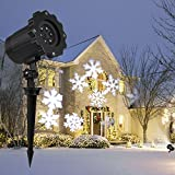 LED Landscape Projector Lamp S&G Waterproof Rotating White Snowflake Spotlight Lights Star Shower Lighting Indoor Outdoor for Christmas/Halloween Holiday Garden Home Wall Patio Stage Decoration