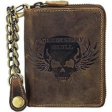 130b7922bf3ecf Greenburry Vintage Leder Reißverschluss Geldbörse Portemonnaie Bikerbörse  mit Kette Totenkopf ...